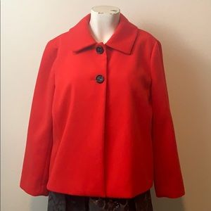 Chico's red coat jacket two button small pea